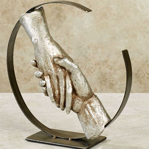 Hand in Hand Table Sculpture Multi Metallic