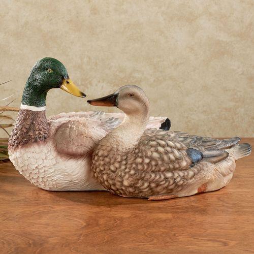 Duck Couple Table Sculpture Multi Earth