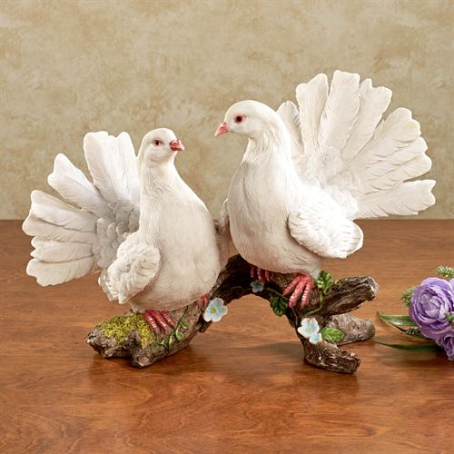 Graceful Doves Table Sculpture White