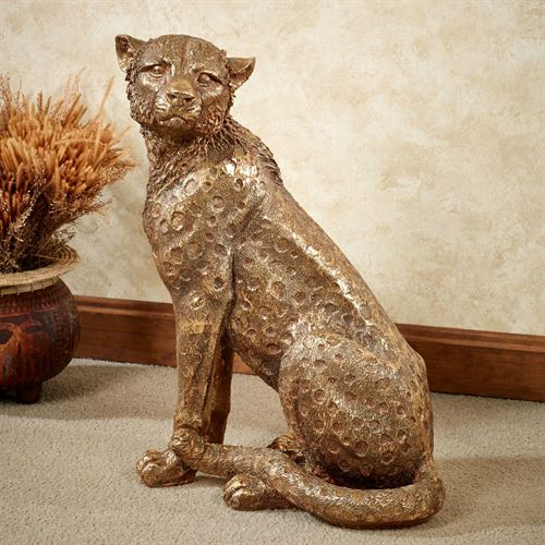 Cheetah Cub Sculpture Aged Gold