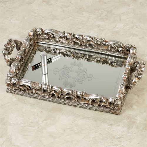 Elaine Mirrored Vanity Tray Antique Silver