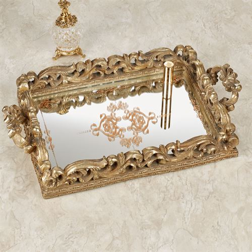 Elaine Mirrored Vanity Tray Venetian Gold