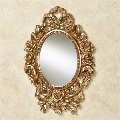 Eileen Rose And Ribbon Gold Oval Wall Mirror