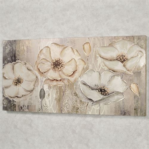Floral Elegance Canvas Wall Art Beige