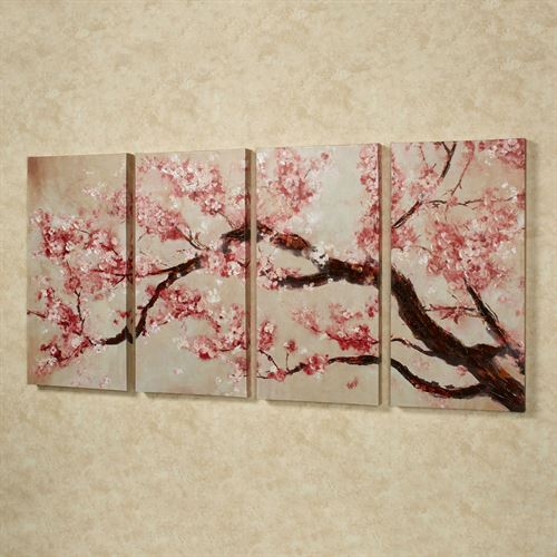 Cherry blossom tree quadtych canvas art set for Canvas painting of cherry blossoms