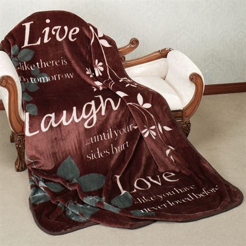 Live Laugh Love Throw Blanket Chocolate 60 x 80