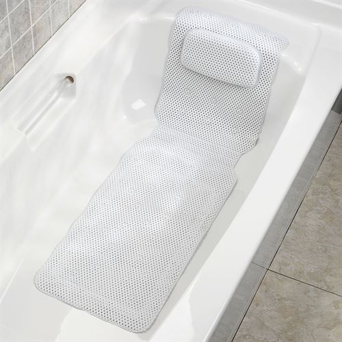 Merveilleux Deluxe Foam Bathtub Mat With Spa Pillow White 50 X 15