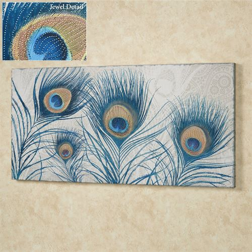 Peacock Feathers Canvas Wall Art Blue