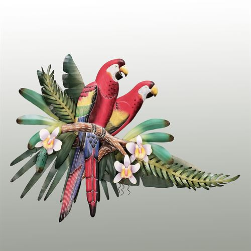 Red Macaw Pair Wall Sculpture