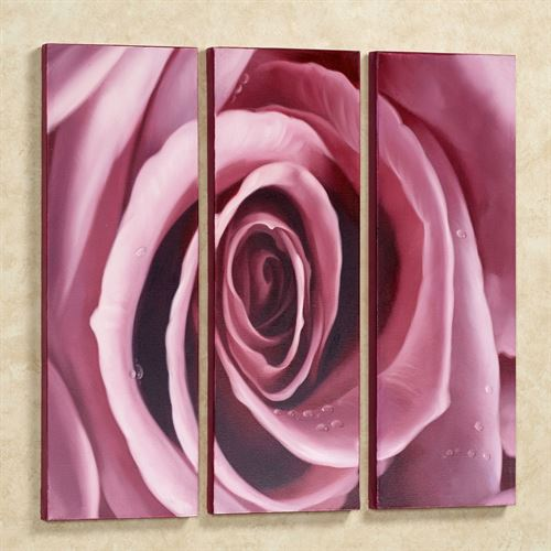Blooming Rose Canvas Triptych Orchid Set of Three