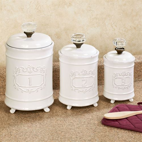 Circa Kitchen Canisters White Set of Three