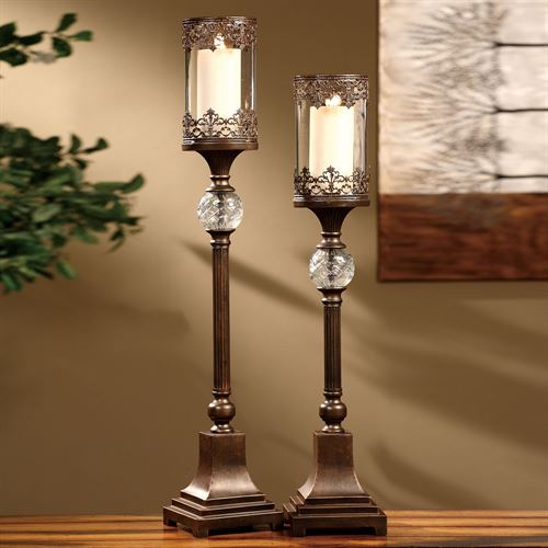 Chavez Candleholder Set Dark Bronze Set of Two
