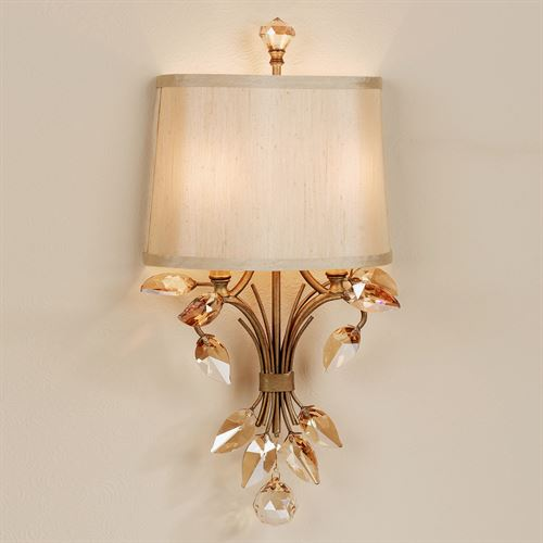 Elena Crystal Leaf Metal Wall Sconce