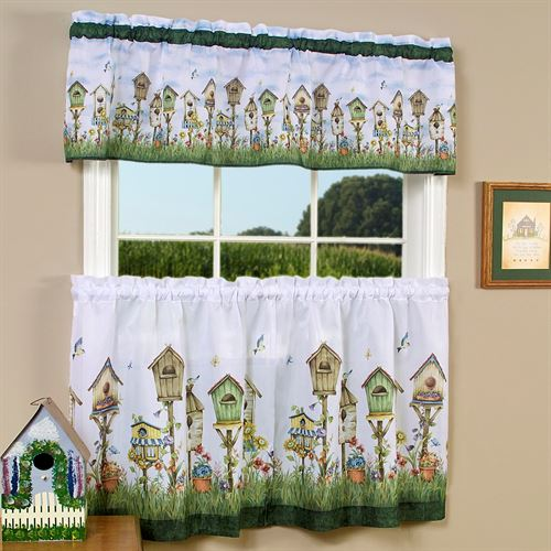 Home Sweet Home Tier and Valance Set White