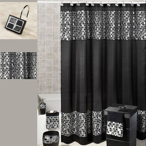 Black Mosaic Stone Fabric Shower Curtain