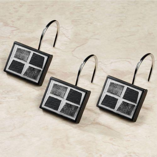 Black Mosaic Stone Shower Curtain Hooks Set of Twelve