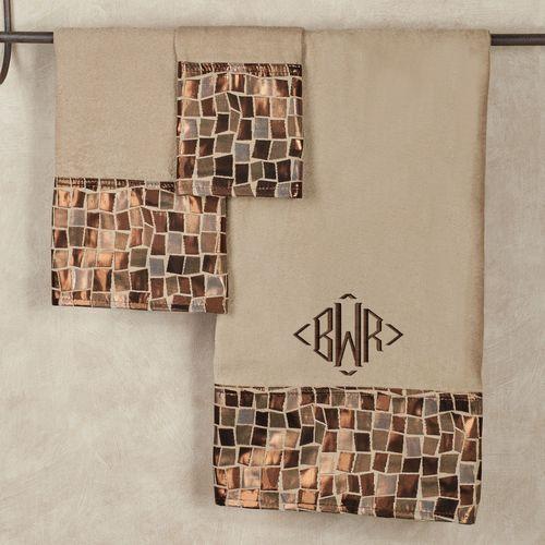 Linen Mosaic Stone Towel Set Bath Hand Fingertip