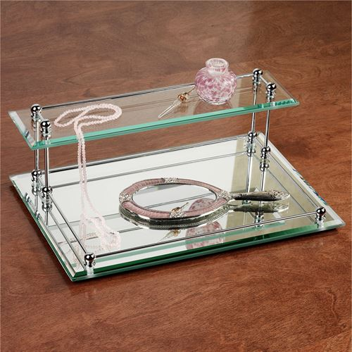 two tier glass valet vanity tray polished chrome - Bathroom Accessories Vanity Tray