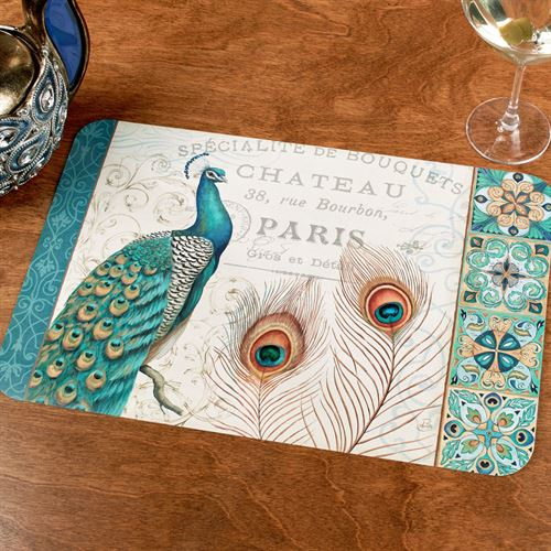 Majestic Beauty Peacock Placemats Multi Jewel Set of Four
