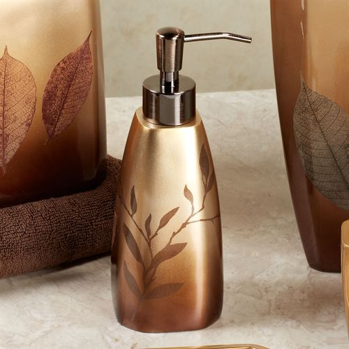 Sheffield leaf bath accessories - Bathroom soap and lotion dispenser set ...