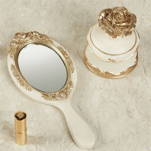 Abiline Hand Mirror and Covered Box Ivory/Gold Set of Two