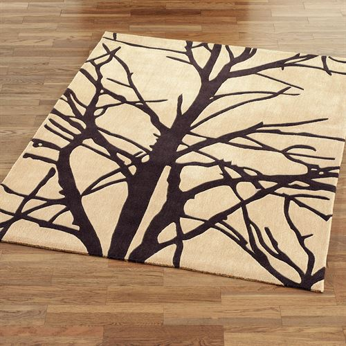 Forest Tree Rectangle Rug Cream