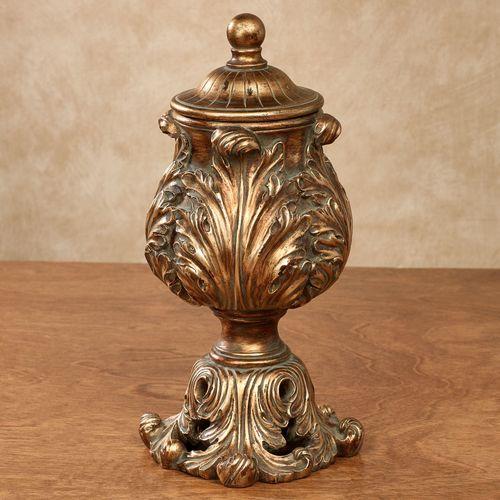 Sanem Decorative Covered Box Aged Gold