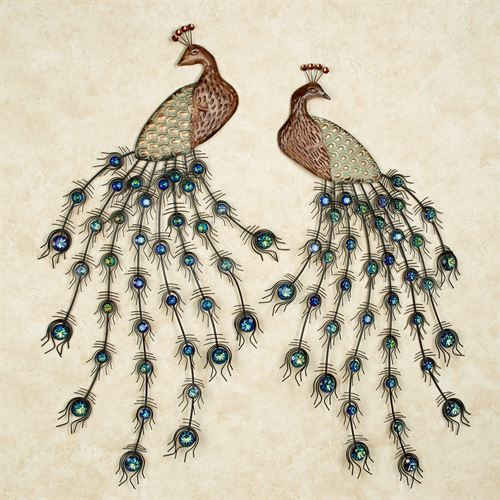 Adoring Peacocks Wall Art Set Blue/Green Set of Two