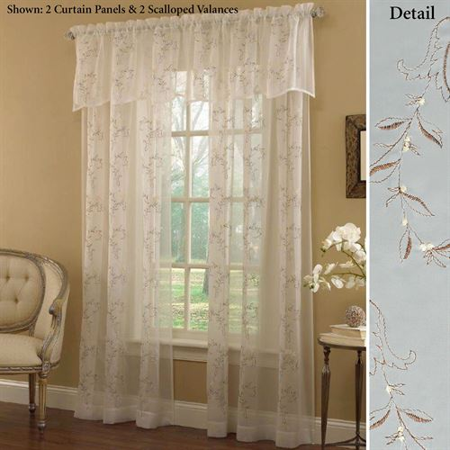 Hawthorne Embroidered Sheer Curtain Panel Ivory