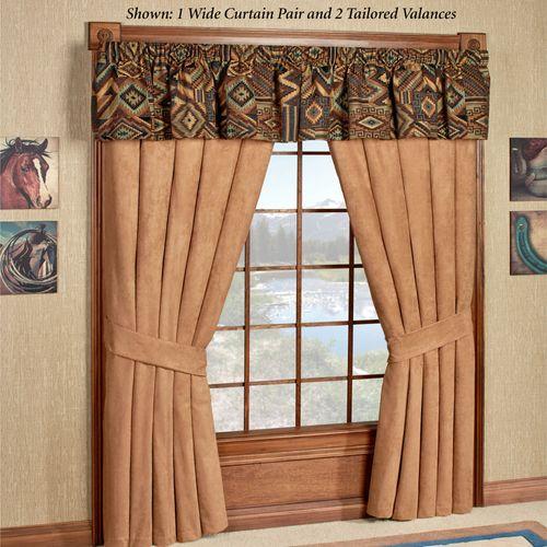 Tucson Wide Tailored Curtain Pair Multi Warm 100 x 84