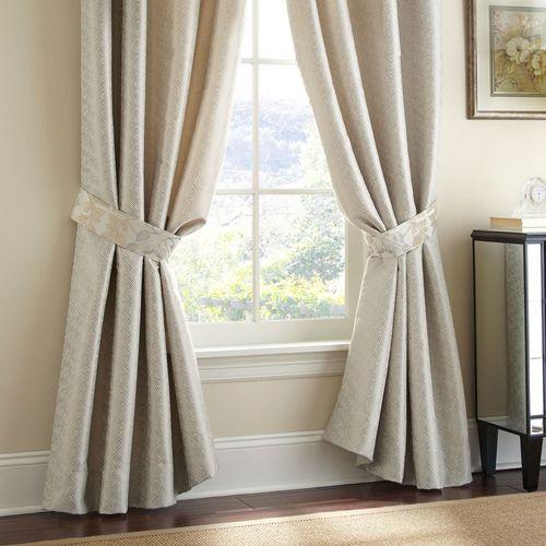 Olivette Wide Tailored Curtain Pair Ecru 110 x 84