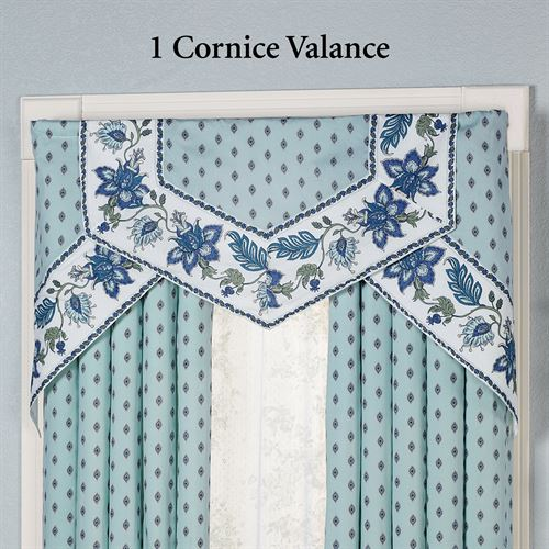 Chalet Bleu Cornice Valance Set Light Blue Three Piece Set
