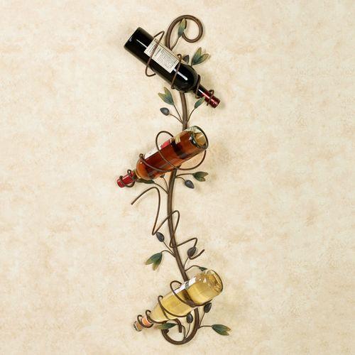 Valetta Olive Wall Wine Bottle Holder Multi Earth