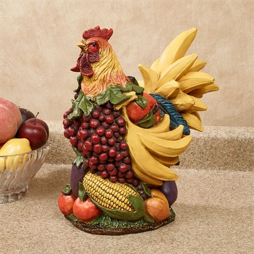 Fruitful Harvest Rooster Table Sculpture Multi Jewel