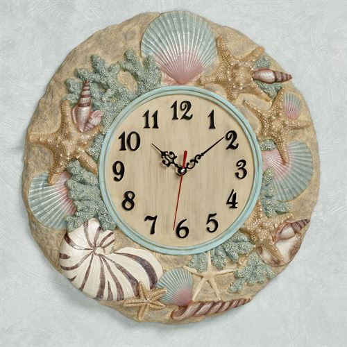 At the Beach Wall Clock Natural