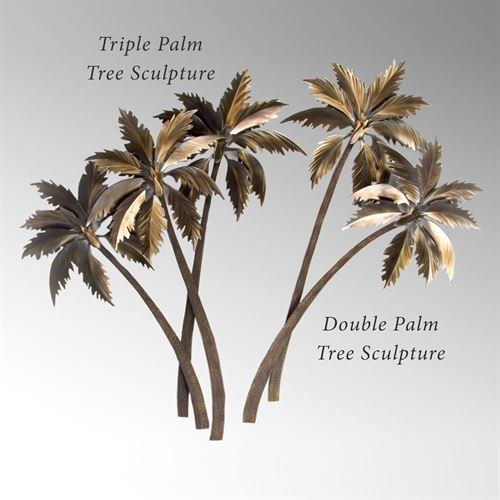 Tropical Trio Palm Sculpture Metallic
