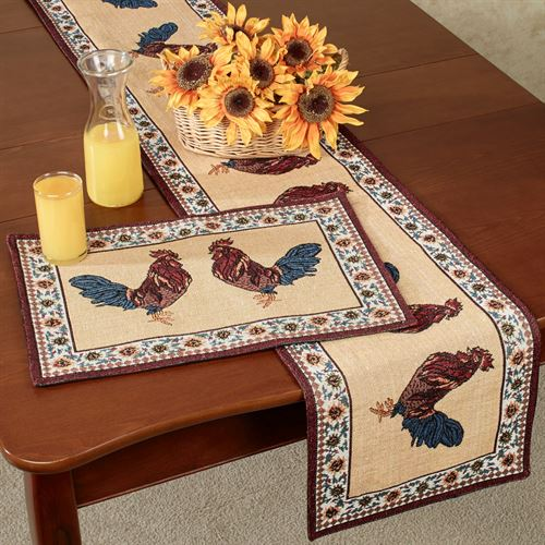 Rooster Rustica Table Runner Multi Warm 13 x 72