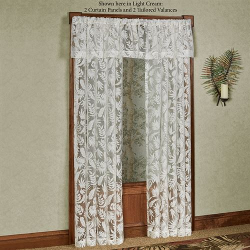 Tropical Frond Sheer Tailored Valance 56 x 14