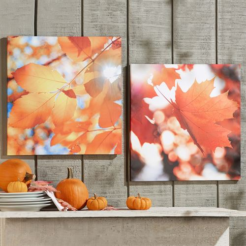 Dancing Leaves Fall Canvas Wall Art Multi Warm Set of Two