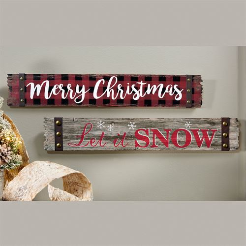Holiday Wall Signs Multi Warm Set of Two