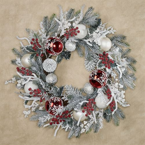 Arctic Frost Winter Wreath White/Red