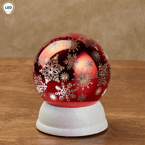 Arctic Snowflake LED Lighted Globe Red