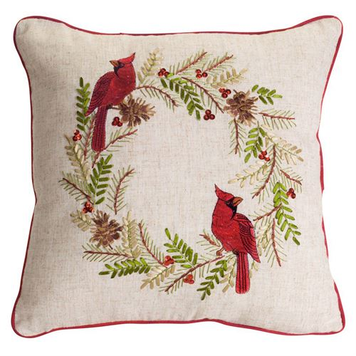 Cardinal Pine Wreath Holiday Decorative Pillow Multi Warm