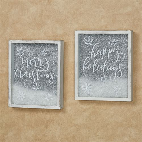 Christmas Sentiment Shadow Box Wall Art Weathered White Set of Two