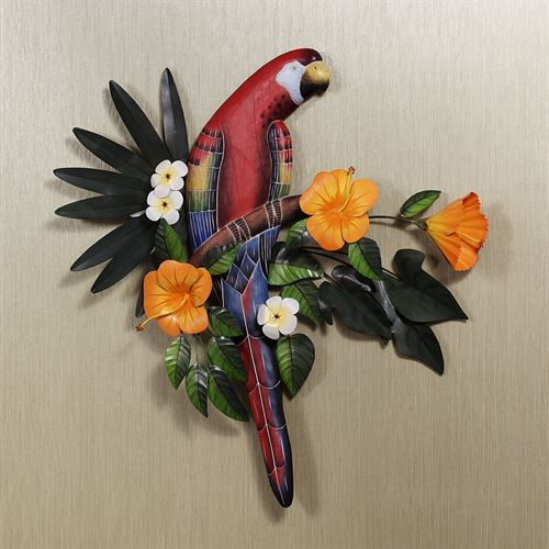 Red Macaw in Hibiscus Tree Sculpture