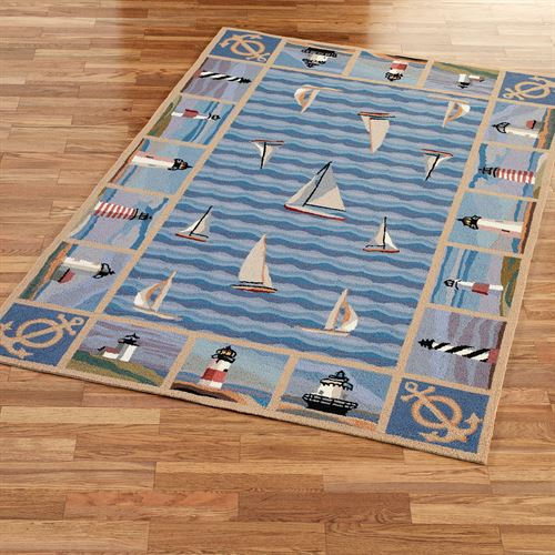 New Colonial Lighthouse Area Rug Blue