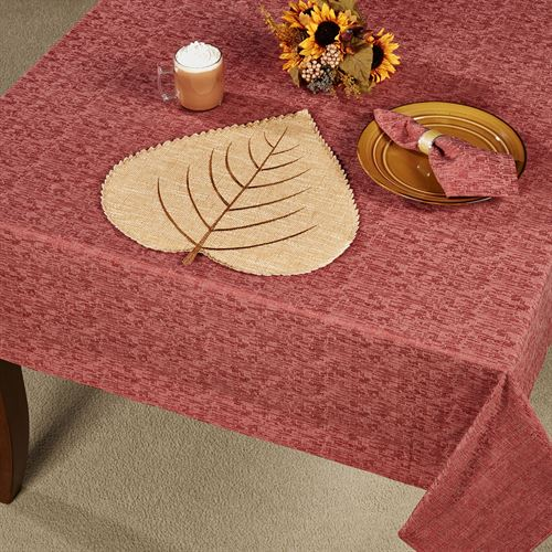 Woodland Oblong Tablecloth Dark Red