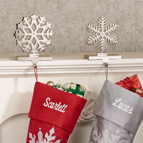 Silver Snowflake Stocking Holders Set of Two