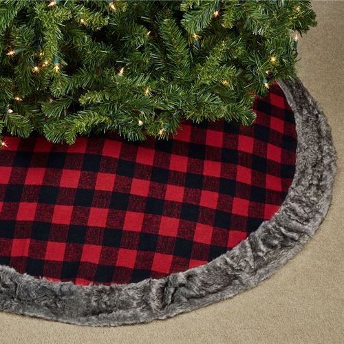Buffalo Check Tree Skirt Red/Black 48 Diameter