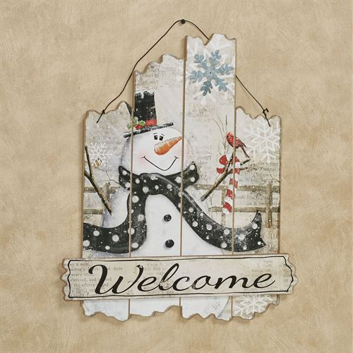 Snowman Welcome Wooden Wall Art Plaque